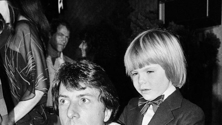 "FILE - In this December 5, 1979 file photo, actor Dustin Hoffman, left, and supporting actor, Justin Henry, 6, are seen at the premiere of their motion picture, ""Kramer vs. Kramer,"" in Los Angles, Calif. Henry, who remains the youngest-ever Oscar nominee in any category for 1979's ""Kramer vs. Kramer,"" said that in some ways it's a purer form of acting at this age. (AP Photo, File)"