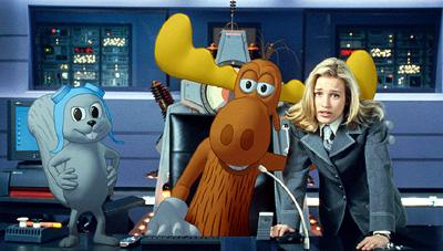 Rocky and Bullwinkle with Piper Perabo as Karen Sympathy in Universal's The Adventures of Rocky and Bullwinkle