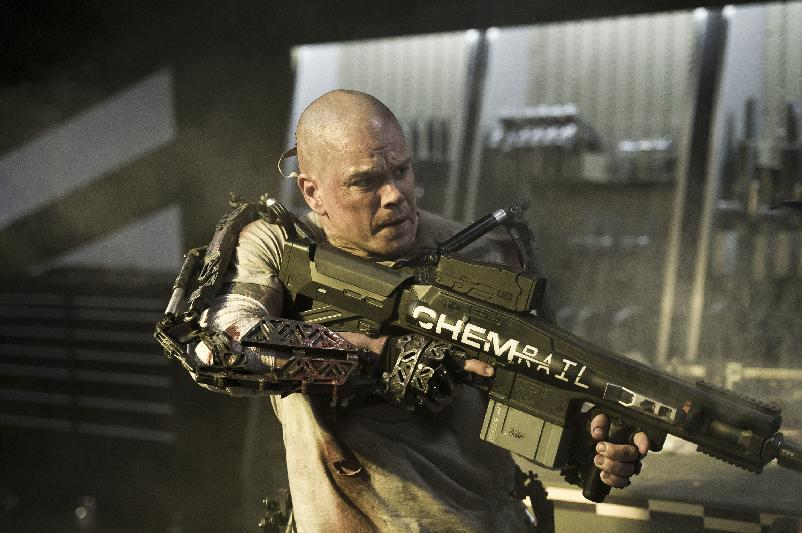 "This film publicity image released by TriStar, Columbia Pictures-Sony shows Matt Damon in a scene from ""Elysium."" (AP Photo/TriStar, Columbia Pictures - Sony, Kimberley French)"
