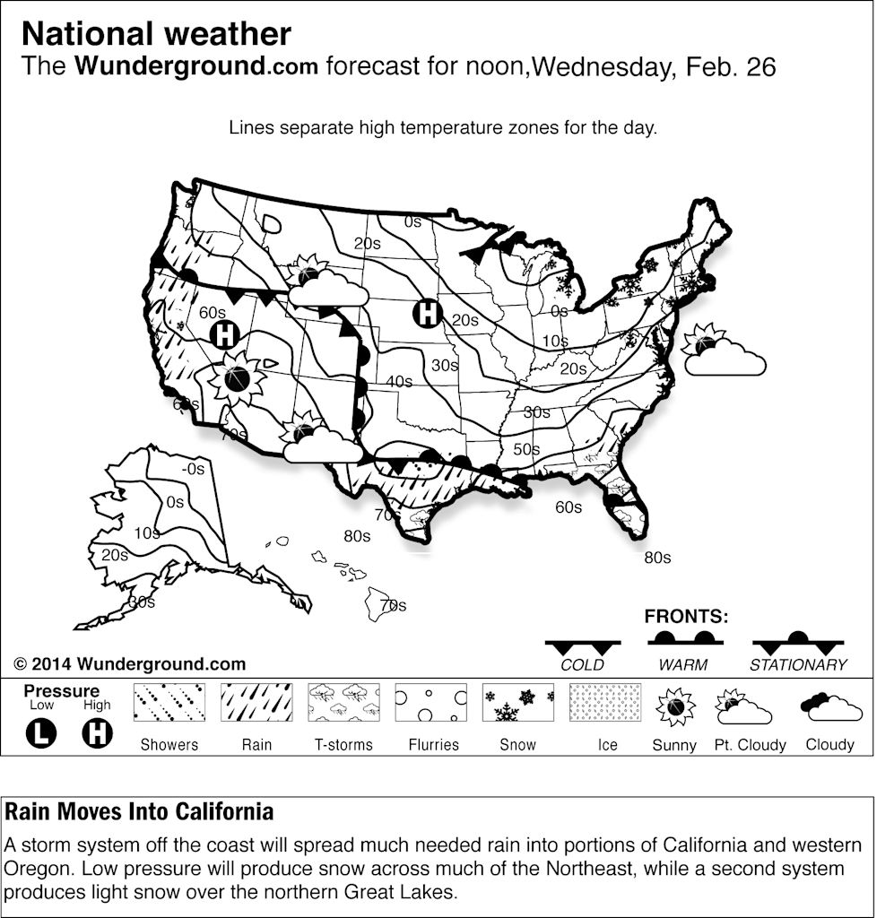 forecast for Wednesday, Feb. 26, 2014, for the United States. A storm