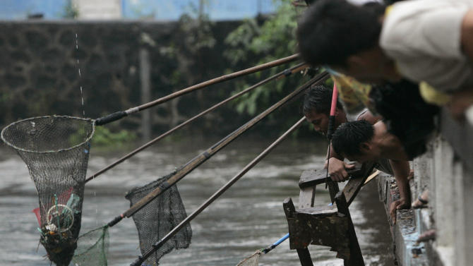 A man picks up pieces of wood as other use a pole with a net waiting to  scoop any salvagable materials from rising water Tuesday, Aug. 2, 2011 in suburban Quezon City, north of Manila, Philippines.  Waist-deep floods have swamped the streets in the Philippine capital after a night of monsoon rains closed down schools and government offices.  (AP Photo/Pat Roque)