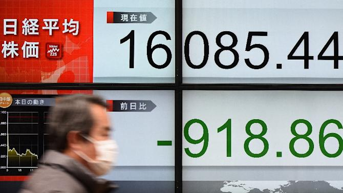 A man walks past an electric quotation board flashing the Nikkei key index of the Tokyo Stock Exchange