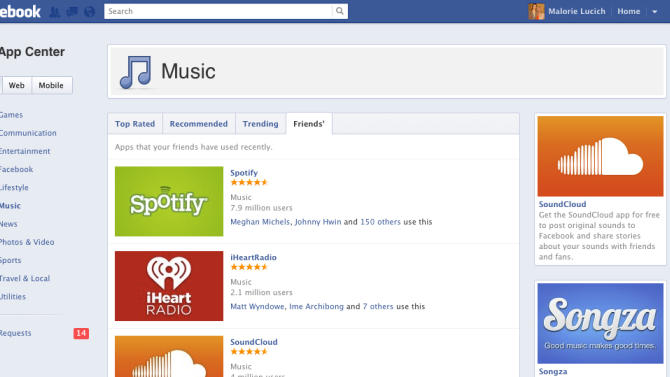This undated handout product image provided by Facebook shows the company's App Center.  On Thursday, June 7, 2012, Facebook is beginning to roll out its App Center to its nearly 1 billion users, so they can find games and other applications with a social component more easily. The App Center will initially feature about 500 Facebook apps, mostly games, that the company has reviewed to meet its quality standards. (AP Photo/Facebook)