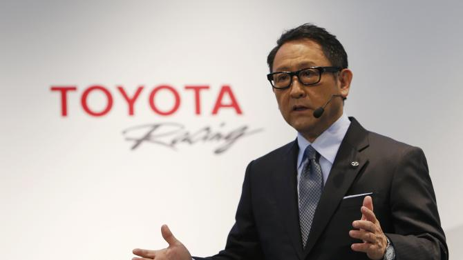 Toyota Motor Corp President Akio Toyoda speaks during a news conference to announce Toyota's return to the WRC in 2017, in Tokyo