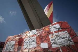Pallets of supplies wait to be loaded on a 747 aircraft at New York's JFK International Airport