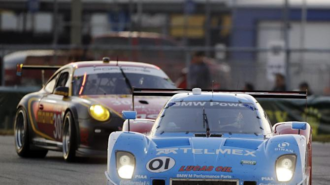 Memo Rojas, of Mexico, drives the Ganassi Racing BMW Riley (01) during the Grand-Am Series Rolex 24 hour auto race at Daytona International Speedway, Saturday, Jan. 26, 2013, in Daytona Beach, Fla. (AP Photo/John Raoux)