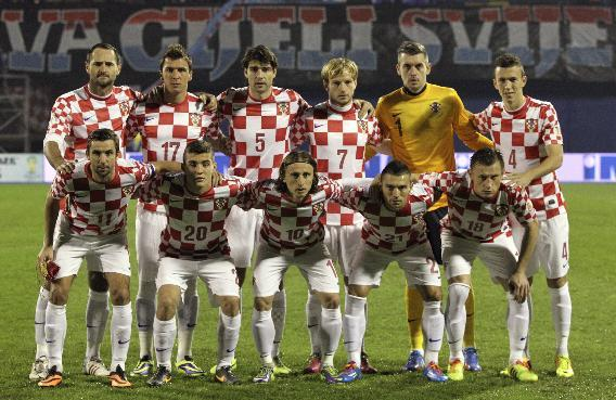In this Nov. 19, 2013 file photo, Croatia soccer team poses prior to the start the World Cup qualifying soccer match between Croatia and Iceland in Zagreb, Croatia. Background from left: Josip Simunic