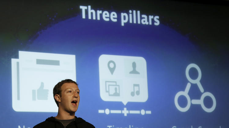 """Facebook CEO Mark Zuckerberg speaks at Facebook headquarters in Menlo Park, Calif., Tuesday, Jan. 15, 2013.  Zuckerberg introduced """"graph search"""" Tuesday, a new service that lets users search their social connections for information about their friends' interests, and for photos and places.  (AP Photo/Jeff Chiu)"""