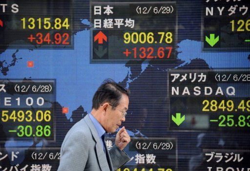 <p>A man walks past an stock prices screen in the window of a securities company in Tokyo. Asian markets fell on Monday after declines in the US and Europe on disappointing American jobs data that raised fresh concerns about the world's biggest economy.</p>