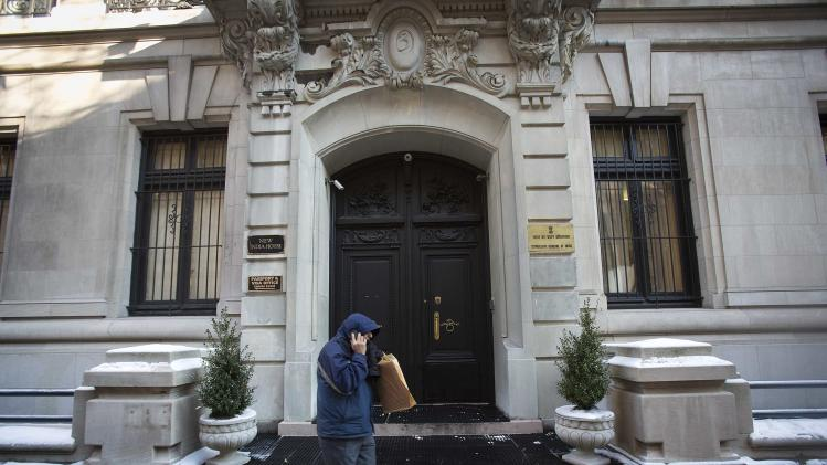 A man walks past the Indian Consulate in New York