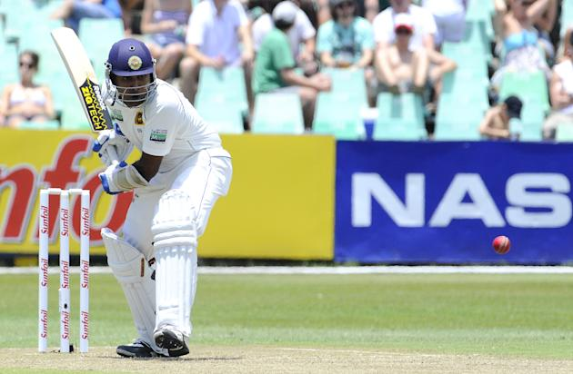 Sri Lanka's batsman Mahela Jayawardene plays a stroke on December 26, 2011 during the first day of the second cricket Test match between South Africa and Sri Lanka at the Sahara Stadium Kingsmead