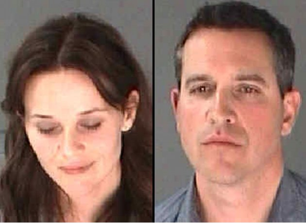 This combination of undated photo provided by the City of Atlanta Department of Corrections shows Reese Witherspoon, left, her husband James Toth. The Oscar-winning actress was arrested on a disorderl