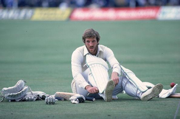 18 Jun 1981:  England Captain, Ian Botham prepares to bat during the first Test match against Australia at Trent Bridge in Nottingham, England.  Australia won the match by four wickets. \ Mandator