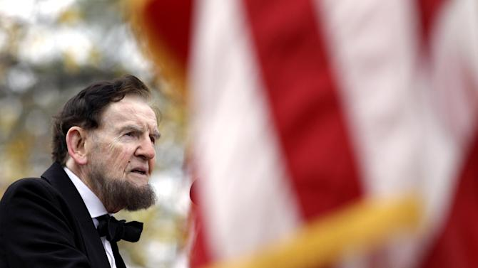 Jim Getty, portraying President Abraham Lincoln, delivers his rendition of the Gettysburg Address during a ceremony to mark the 149th anniversary of Lincoln's speech at Soldier's National Cemetery in Gettysburg, Pa., Monday, Nov. 19, 2012. Director Steven Spielberg and historian Doris Kearns Goodwin were also on hand to deliver remarks and participate in a wreath-laying ceremony. (AP Photo/Patrick Semansky)