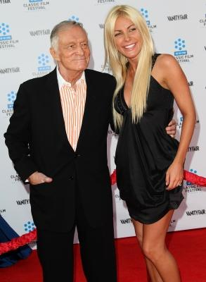 """Hugh Hefner and his fiancee, Crystal Harris, are all smiles at the TCM Classic Film Festival Opening Night Gala and World Premiere of the film """"An American In Paris"""" at Grauman's Chinese Theatre in Hollywood, Calif., on April 28, 2011  -- Getty Images"""