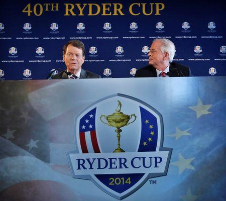 File photograph shows Golfer Watson and PGA of America president Bishop speaking to the press after being introduced as Ryder Cup captain in New York