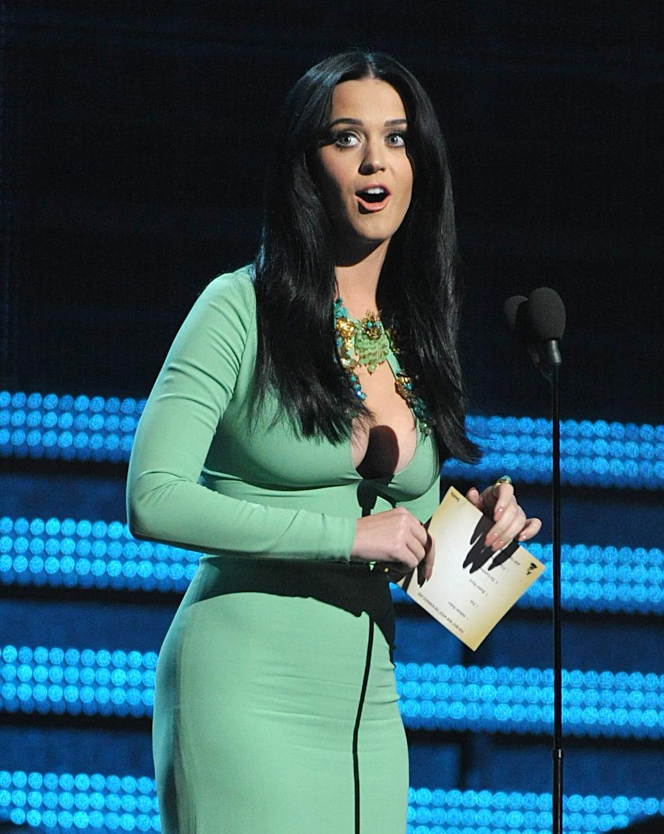 Katy Perry presents the award for best new artist at the 55th annual Grammy Awards on Sunday, Feb. 10, 2013, in Los Angeles. (Photo by John Shearer/Invision/AP)