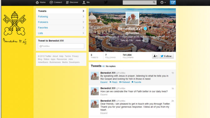 Pope hits 1M mark as he tweets: 'Dear Friends... '