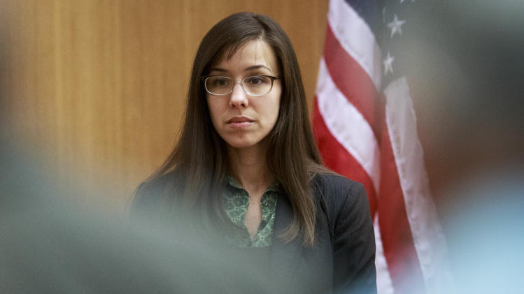 FILE - In this Wednesday, Feb. 6, 2013 file photo, defendant Jodi Arias prepares to take the witness stand during her murder trial in Judge Sherry Stephens' Superior Court in Phoenix. Arias, charged in the stabbing and shooting death of her lover, is set to resume testimony in her death penalty trial, Monday, Feb. 11, 2013. (AP Photo/The Arizona Republic, Charlie Leight, Pool, File)