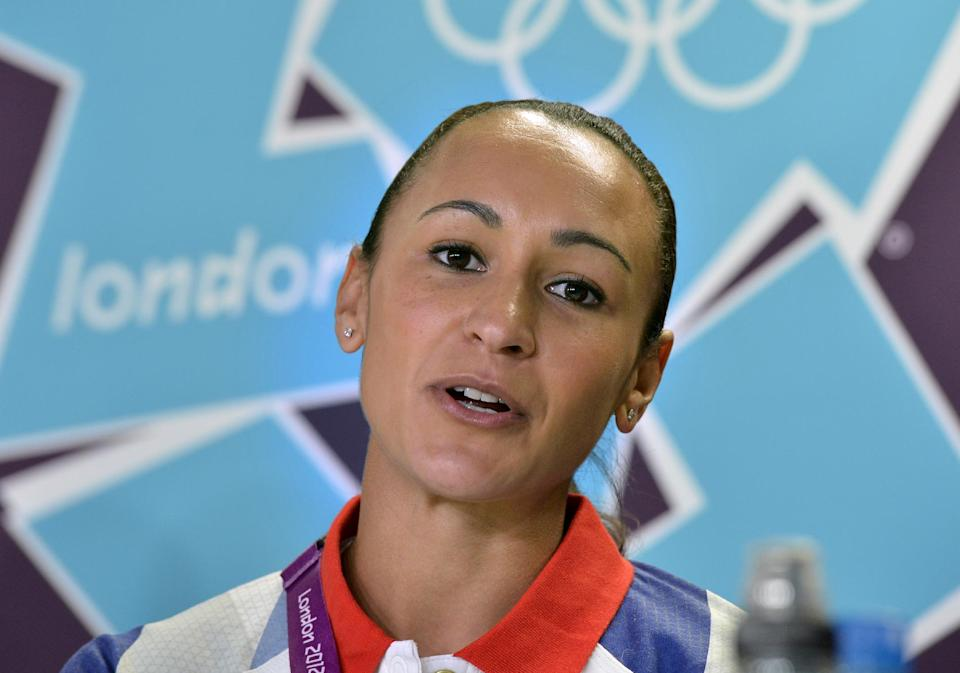Hepathlon athlete Jessica Ennis of Britain talks to the media during a press conference at the 2012 Summer Olympics, Wednesday, Aug. 1, 2012, in London. (AP Photo/Martin Meissner)