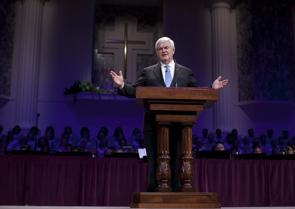 Republican presidential candidate, former House Speaker Newt Gingrich, speaks during a visit to First Redeemer Church on Sunday, Feb. 26, 2012, in Cumming, Ga.  (AP Photo/Evan Vucci)