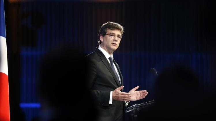 French Economy Minister Arnaud Montebourg delivers a speech during a conference about the economic recovery of France at the Bercy ministry in Paris