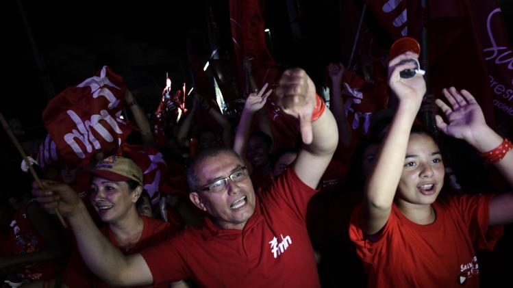 Supporters of Sanchez Ceren, the FMLN presidential candidate, shout during rally held after official election results were released, in San Salvador