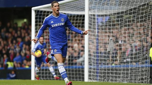 Fernando Torres of Chelsea celebrates scoring against Crystal Palace during their English Premier League match at Stamford Bridge, London, December 14, 2013.