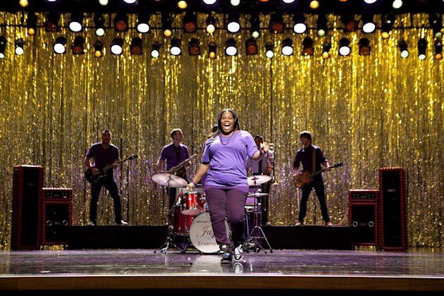 GLEE: Amber Riley (Mercedes) performs in the Season Three premiere episode &quot;The Purple Piano Project&quot; of GLEE airing Tuesday, Sept. 20 (8:00-9:00 PM ET/PT) on FOX. 2011 Fox Broadcasting Co. Cr: Adam 