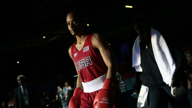 Quanitta Underwood of the United States, arrives for her fight against Natasha Jonas of Great Britain, during the women's lightweight boxing competition at the 2012 Summer Olympics, Sunday, Aug. 5, 2012, in London. (AP Photo/Ivan Sekretarev)