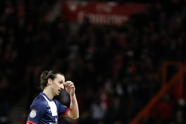 Paris Saint Germain Zlatan Ibrahimovic returns to the bench during their French Ligue 1 soccer match against Valenciennes at Parc des PrincesStadium in Paris