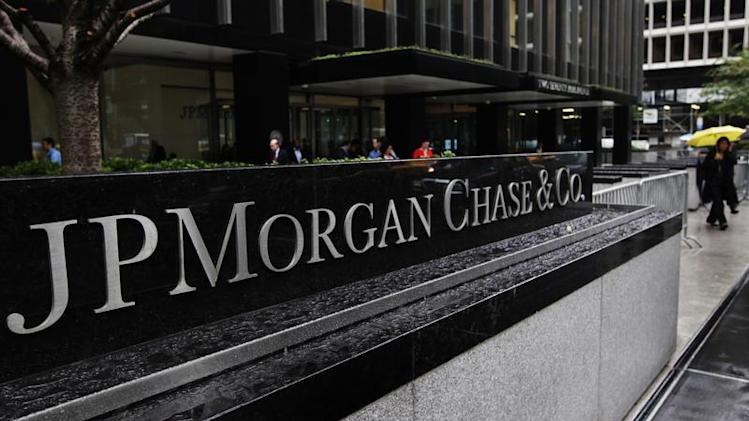 The entrance to JPMorgan Chase's international headquarters on Park Avenue is seen in New York