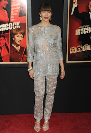Jessica Biel Overshadows Scarlett Johansson In Bejewelled Dove Grey Two-Piece At 'Hitchcock' Premiere