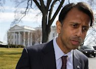 Louisiana Governor Bobby Jindal talks to the press after meeting with U.S. President Barack Obama and other members of the National Governors Association at the White House in Washington February 27, 2012. REUTERS/Larry Downing
