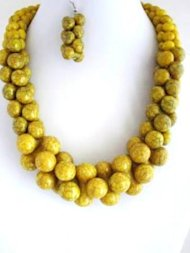 Bone Necklace with Matching Drop Bone Earrings in Mustard Yellow.