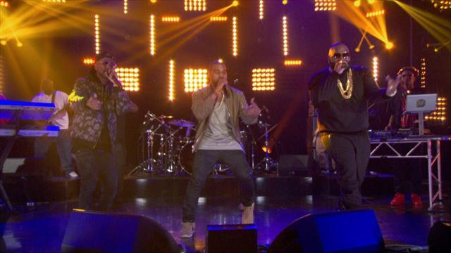 Kanye West & Big Sean Make A Surprise Appearance With Rick Ross On 'The Arsenio Hall Show'