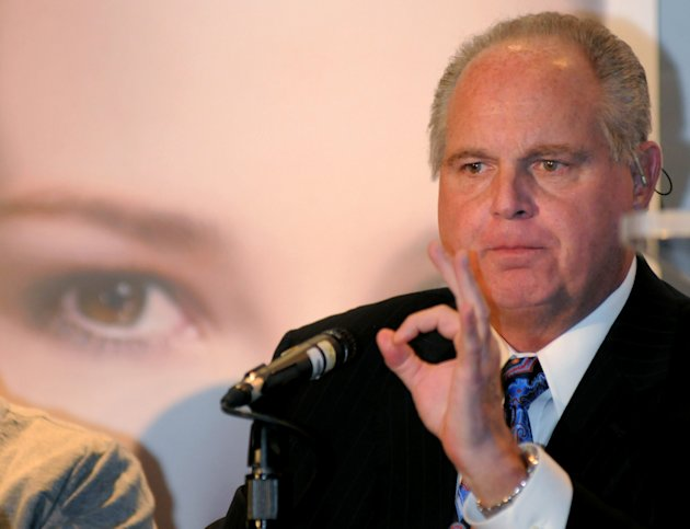 FILE - In this Wednesday, Jan. 27, 2010 photo provided by the Las Vegas News Bureau, radio talk-show host Rush Limbaugh, one of six judges for the pageant, speaks during a Miss America news conference