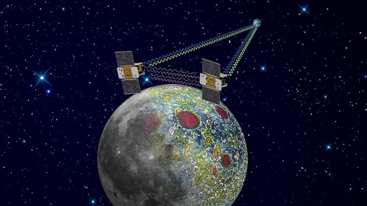 This undated artist rendering provided by NASA on  Dec. 21,2011 shows the twin Grail spacecraft mapping the lunar gravity field. The two probes are scheduled to enter orbit around the moon over New Year's weekend. (AP Photo/NASA, Jet Propulsion Laboratory)