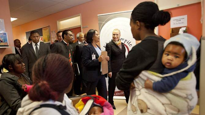 Secretary of State Hillary Rodham Clinton visits the Delft South Clinic in Delft South, a suburb of Cape Town, South Africa, Wednesday, Aug. 8, 2012. (AP Photo/Jacquelyn Martin, Pool)