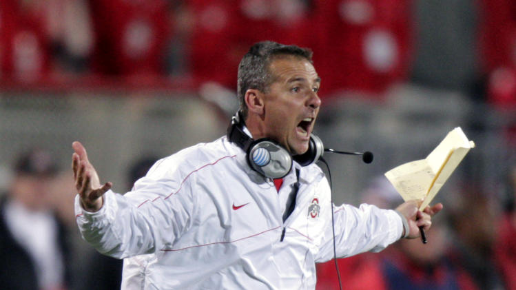 Ohio State head coach Urban Meyer reacts during the second half of an NCAA college football game against Nebraska, Saturday, Oct. 6, 2012, in Columbus, Ohio. (AP Photo/Jay LaPrete)