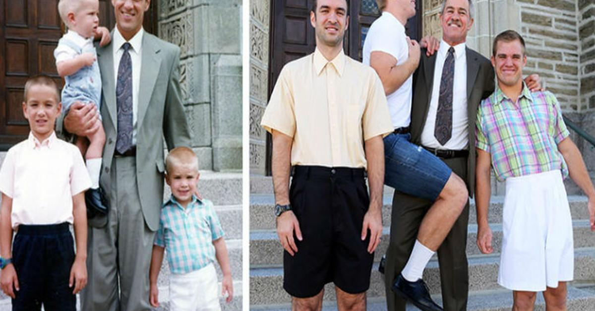 3 Brothers Recreate Childhood Pics For Their Mom