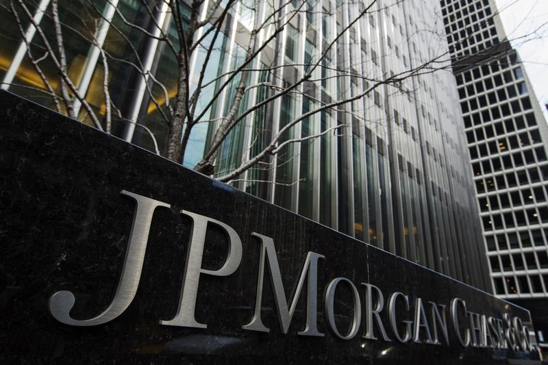 A sign stands in front of the JPMorgan Chase & Co bank headquarters building in New York
