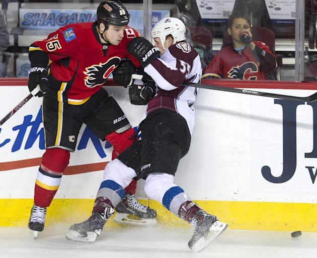 Colorado Avalanche's Cody McLeod, right, collides with Calgary Flames' Shane O'Brien during the first period of an NHL hockey game, Friday, Dec. 6, 2013 in Calgary, Alberta