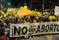 People march against abortion in Montevideo in September. Uruguay on became only the second country in mostly Catholic South America to legalize abortion