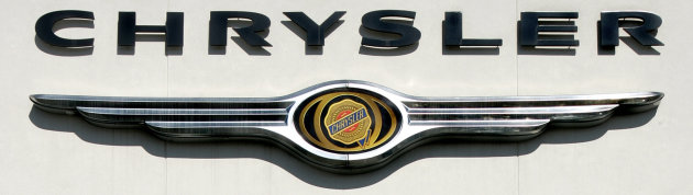 FILE - The Chrysler name and emblem hangs on the side of the building at a Larry H. Miller dealership, in this Feb. 11, 2006 file photo taken in Sandy, Utah. The Auburn Hills, Mich., company made a net profit of $473 million, its best quarter in 13 years, mainly on the back of strong U.S. sales. From January through March, 2012 Chrysler's sales were up 39 percent. (AP Photo/Douglas C. Pizac, File)