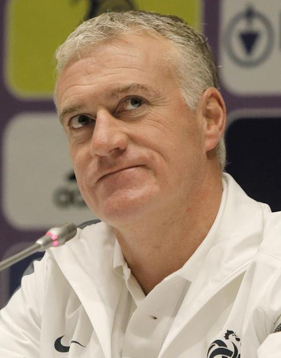 France's soccer coach Didier Deschamps speaks during a press conference at the Olympiyskiy national stadium in Kiev, Ukraine, Thursday, Nov. 14, 2013, ahead of their 2014 World Cup qualifying playoff