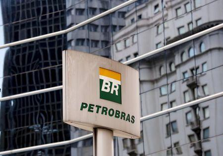 The Petrobras logo is seen in front of the company's headquarters in Sao Paulo