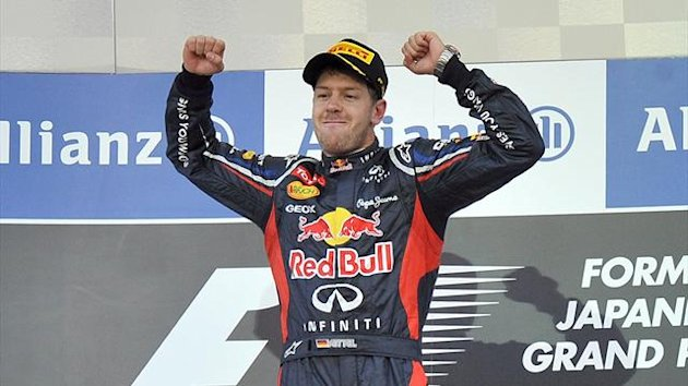 Sebastian Vettel celebrates winning the 2012 Japanese GP