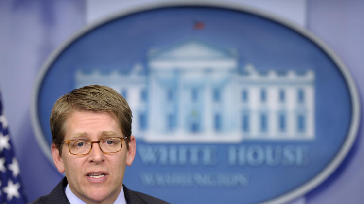 White House Press Secretary Jay Carney speaks during the daily briefing at the White House in Washington, Tuesday, Feb. 28, 2012. (AP Photo/Susan Walsh)