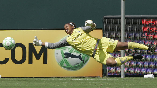 FILE - In this Aug. 22, 2009, file photo, Los Angeles Sols goalie Karina LeBlanc dives for the ball against the New Jersey Sky Blue during the second half of a WPS Championship soccer game at the Home Depot Center in Carson, Calif. LeBlanc will play goalkeeper for the Portland Thorns against the Western New York Flash in the inaugural championship of the National Women's Soccer League on Saturday night, Aug. 31, 2013, in Rochester, N.Y.(AP Photo/Lori Shepler, File)